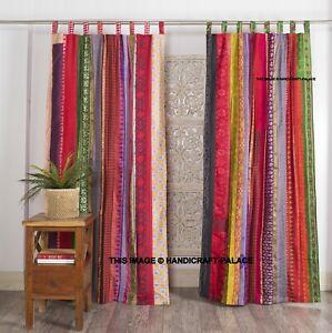 Indien Vintage Sari Patchwork Rideaux Drapé Décoration Fenêtre Multi Soie