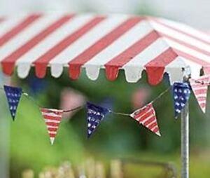 Miniature Dollhouse Fairy Garden Red White Blue Flag Pennant