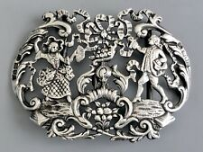 "Large 4"" Victorian Sterling Silver Belt Buckle / Hallmarked Samuel Jacob / 63g"