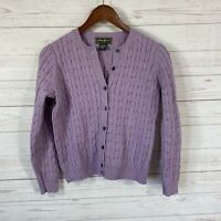 Eddie Bauer Cable Knit Cotton Blend Cardigan Sweater Womens Small Petite Purple