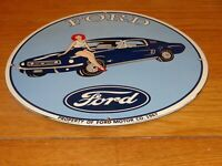 """VINTAGE 1967 FORD MUSTANG CAR & WOMAN 11 3/4"""" PORCELAIN METAL GASOLINE OIL SIGN!"""