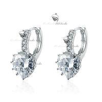 18k white gold gf made with SWAROVSKI crystal stud earrings dangle heart