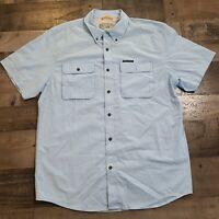 Field & Stream Fishing Outdoor Button Up Mens Large Blue Short Sleeve Shirt