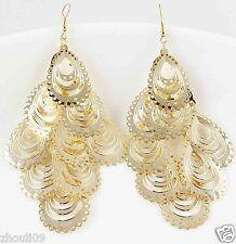 9k Yellow Gold Filled Women Elegant Rhinestone Ear Stud dangle Earrings e488