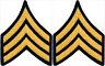 2 Pair Army Sergeant E-5 Blue Gold Rank Insignia Chevron Patches - Male