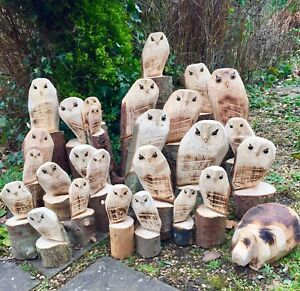 Wooden Owl Carving Gift Garden Statue Decoration Natural Christmas Decoration