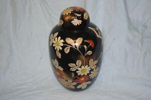 Porzellan-Deckelvase, China, floral/Fächer/24KT Gold, Bodenmarke, 32cm