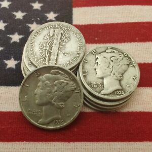 [Lot of 10] Mercury Dime 1916-1945 Silver
