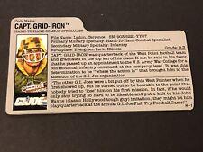 HASBRO VINTAGE GI JOE CAPT. GRID-IRON HAND-TO-HAND COMBAT BIO FILE CARD H-1 RARE