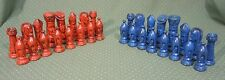 Ceramic Glazed Chess Set Duncan Style gothic medieval red blue