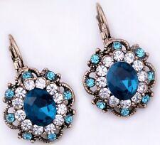 BEL Blu Cristallo Rhinestone Orecchini in Oro e Diamante Stud CERCHIO Goccia Piercing E72