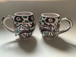 Ikaros Rhodes Greece Vintage Pottery Cups, Set Of Two