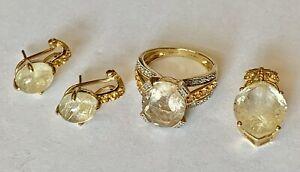 Rutilated Quartz Citrine Sapphire 10k Gold Sz.6 Ring Earrings Pendant set 10.52g