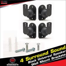 4 Surround Sound Black Universal Speaker Wall Mount Brackets TechSol Essential