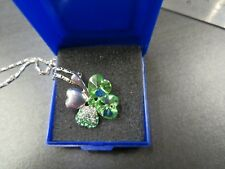 4 Leaf Clover Heart Crystal Necklace Irish Good Luck St Patrick's UK SELLER