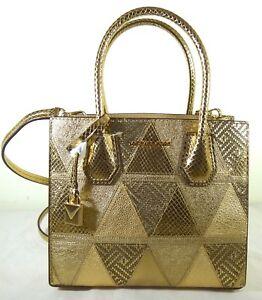Michael Kors Mercer Studio Medium Embossed Gold Leather Messenger Satchel Bag