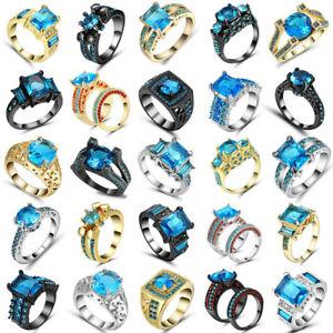 Blue Fashion Jewelry Wedding Engagement Black Gold white Filled Ring Gift Size 7