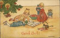 Foreign Christmas - Happy Children Read Book by Tree Schonberg c1910 Postcard
