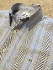 GORGEOUS LACOSTE BLUE / PURPLE MULTI STRIPE SHIRT SIZE 42 COST £95