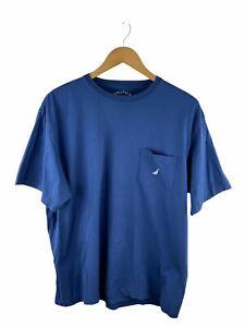 VINTAGE Nautica T Shirt Mens Size L Blue Short Sleeve Logo Crew Neck Pocket
