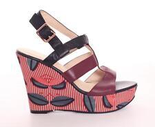 ESSENTIEL Womens Black & Burgundy Leather LELOO High Heel Wedge Sandal Shoe 9