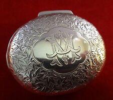 1892 English Birmingham Sterling Silver Snuff Box. Interior w/fumed gold & spoon