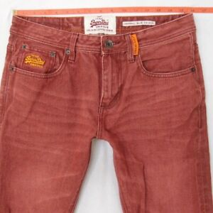Mens SuperDry CORPORAL SLIM COLOUR Slim Straight Red Jeans W31 L30