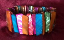 Abalone Shell /Colorful Bracelet -Stretch /Wide Cuff Elastic -Multi-Colors