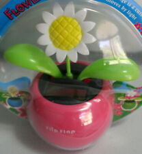 Solar Toy Dancing White Sunflower in a Pink Pot