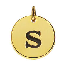 Lead-Free Pewter, Round Alphabet Charm Letter 's' 13mm, 1 Pc., Gold Plated