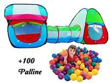 SET 2x TENDA + Tunnel automontante +100 palline,gioco animatori,bambini