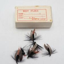 Vintage Black Gnat Fly Fishing Wet Flies Lot Hand Tied made in Japan