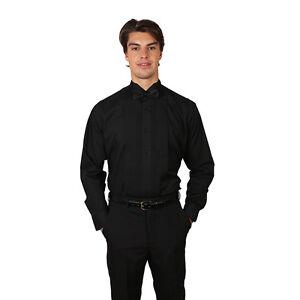 Tuxedo Black Shirt With Wing Tip Collar