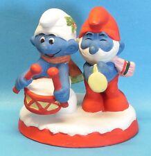 KERAMIK Tommler + Papa Schlumpf Set smurf christmas collectabiles W.Berrie 1982
