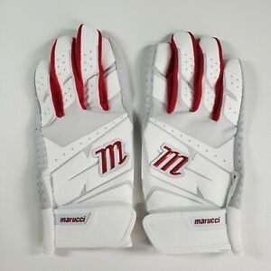 Marucci Medium Adult Baseball Batting Gloves Red White