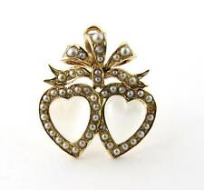 Antique Victorian 14K Yellow Gold Double Heart Moonstone and Seed Pearl Pendant