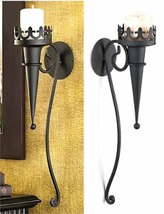 """STUNNING TORCH STYLE MATTE-BLACK 18.8"""" GOTHIC WALL CANDLEHOLDER SCONCE ** NIB"""
