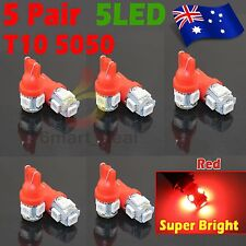 10x T10 5050 SMD 5LED Car Wedge Stop Plate Light Interior Park Lamp Bulb Red 12V