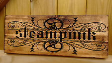 Steampunk Empire, Alchemy Gothic Fairy Engine Rustic Wood Sign Picture Upcycled