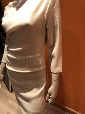 Parker   Blush Sequin Draped 3/4 Sleeve Cocktail Dress S