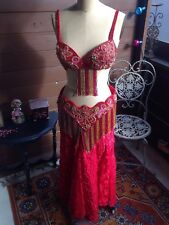 Red Gold 3 pc Egyptian Middle Eastern Professional Belly Dancing Costume Dress