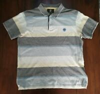 Timberland Earthkeepers L Grey Yellow Blue Striped Cotton Mens Polo Shirt