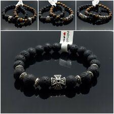 Armband Herren Damen Naturstein Lava Schwarz Tigerauge mit Tibetische Silber