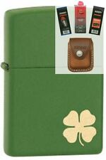 Zippo 21032 shamrock deere green Lighter + FUEL FLINT WICK POUCH GIFT SET