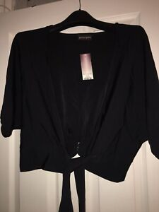 BNWT Black Stretchy Shrug Style Cardigan With Ties Size 14 By Principles