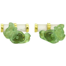 Trianon Crystal Carved Gemstone Gold Squirrel Cufflinks
