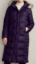 EDDIE BAUER ESSENTIAL DUFFLE DOWN PARKA TRENCH COAT PURPLE PS 650F ARCTIC COLD