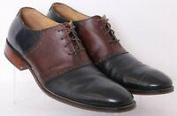 Cole Haan C12664 Williams Saddle Black Leather Lace-Up Oxford Shoes Men's US 12M