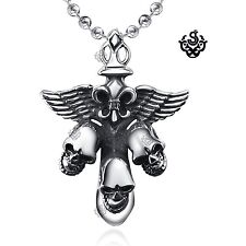 Silver cross stainless steel vintage style skull sword wings pendant necklace