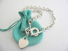 Tiffany & Co Silver Heart Toggle Charm Pendant Necklace Charm Chain $500+